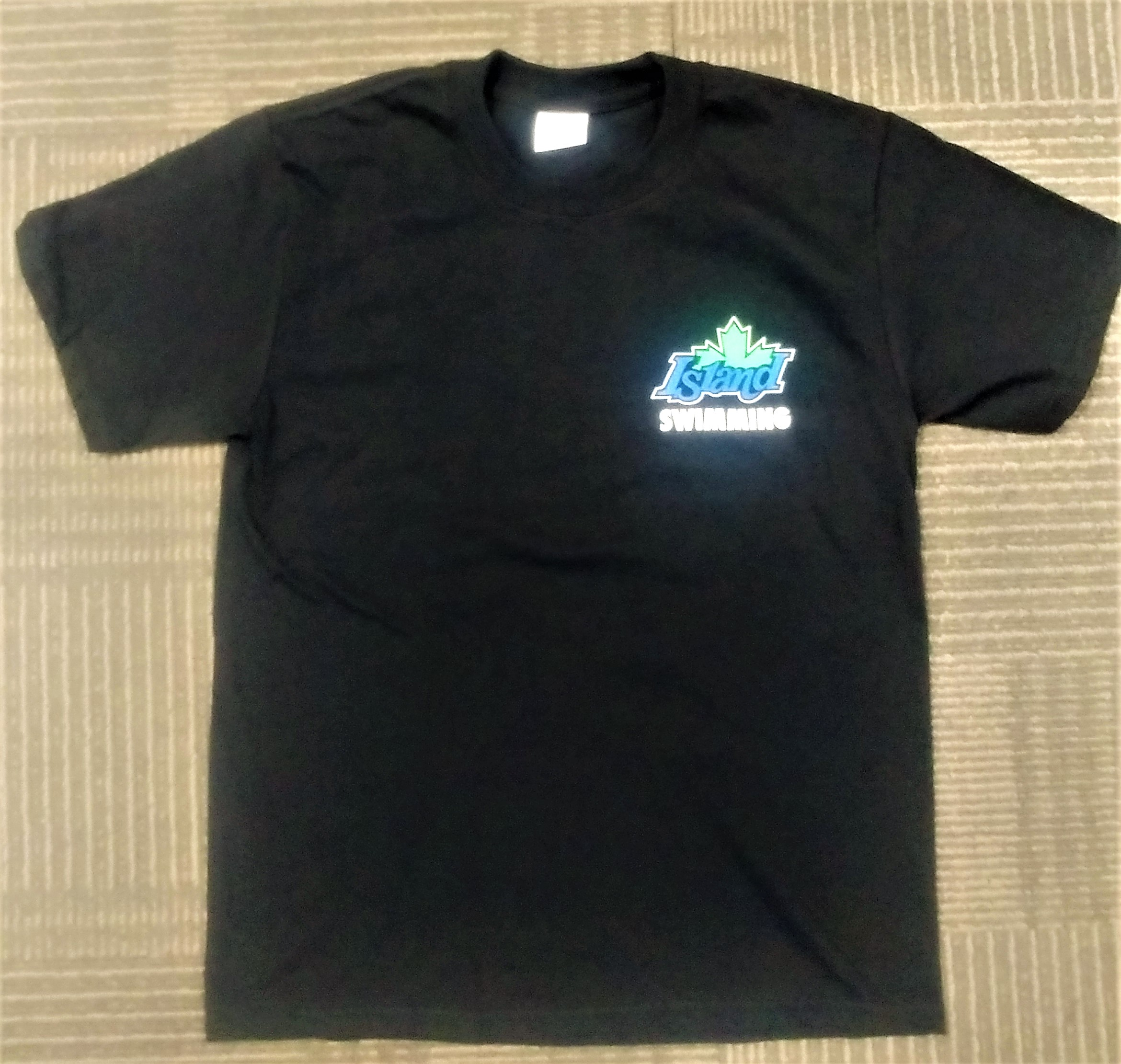 Youth Large Black Island Swimming team T-shirt with colour logos