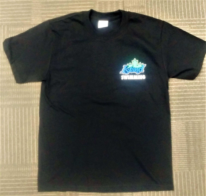 Youth Medium Black Island Swimming team T-shirt with colour logos