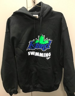 Black Island Swimming Hooded Sweatshirt with colour logo