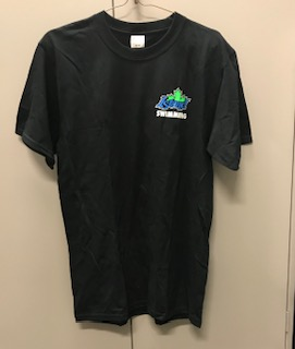 Black Island Swimming team T-shirt with colour logos