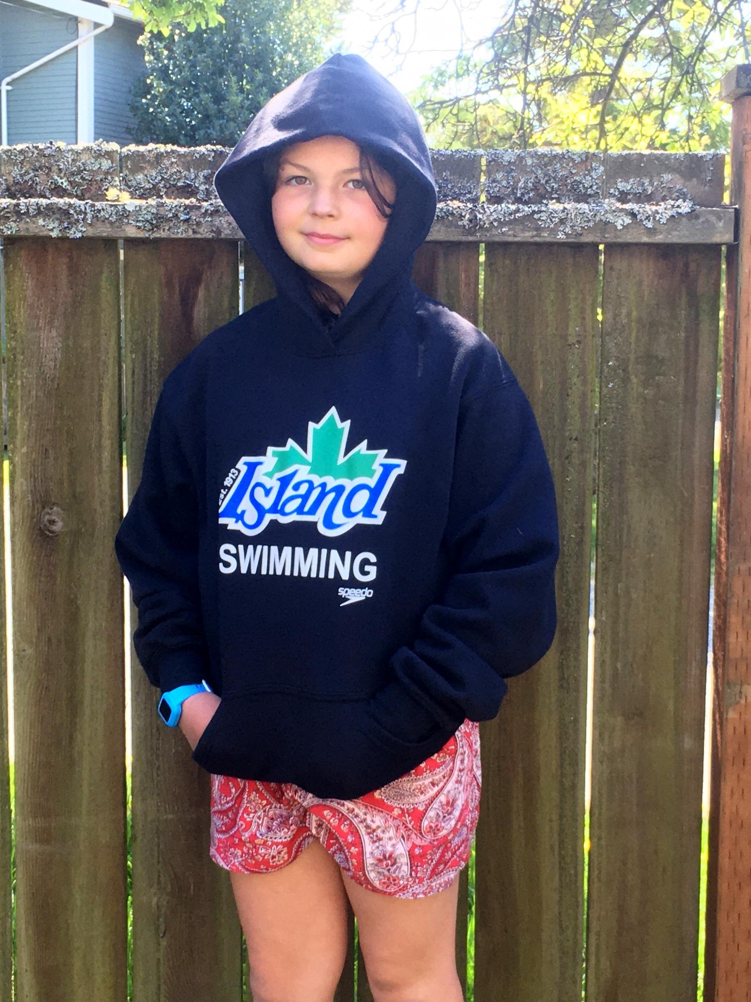 Black Island Swimming Hooded Sweatshirt with colour logo